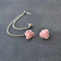 Pink Daffodil and Heart Siilver Multiple Pierce Cartilage Earrings (Pair)
