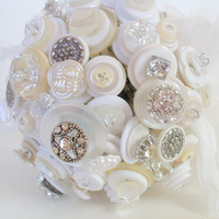 Bling Wedding Button Bouquet,  Alternative, Non traditional, Hollywood Glam style