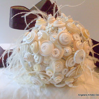 Winter White Button Bouquet , weddings, alternative bouquet