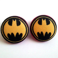Handmade black and yellow batman symbol button earrings