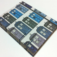 Doctor Who Tardis Fabric Handmade Journal Notebook - Blue Police Boxes - Coptic Stitched