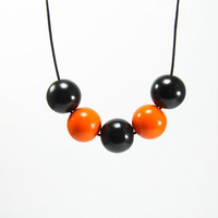 Halloween Geometric Round Beads Necklace - Orange Black Bubble Handmade Modern Minimalist Geo Necklace - Halloween Jewelry