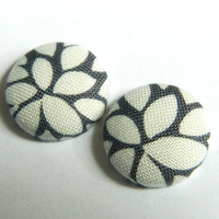 Button Earrings White- Grey Abstract Floral Leaves