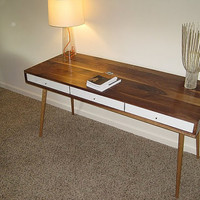 Walnut Desk With Gloss White Drawers custom by jeremiahcollection