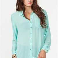 A&#x27;GACI Long Sleeve Button Front Chiffon Shirt - New Arrivals