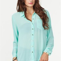 A'GACI Long Sleeve Button Front Chiffon Shirt - New Arrivals