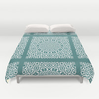 Helena Teal Duvet Cover by Lisa Argyropoulos