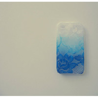 Ombre Iphone 4 and 4s Lace Case in Royalty Blue