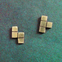 Brass tetris piece earring studs by PicaPicaPress on Etsy