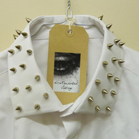 Spike Studded Collar White/Black boyfriend Shirt Oversized Grunge Ladies Mens Blouse Vintage Top