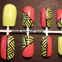 Neon Basket Weave False Nail Set