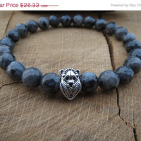 VALENTINE SALE Men Bracelet, Mens Lion Bracelet, Faceted Labradorite Larvikite Mens Bracelet, Gift For Him, Mens Fashion, Grounding Protecti