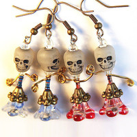 Halloween Earrings. Skull Glow in the Dark. Funny Big Head Ballet Dancers. Tiny Red or Blue Resistor Upcycled Electronics. Day of the Dead