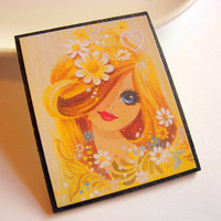 Big Eyed Girl with Daisy Flowers Pin - Paper and Chipboard Decoupage Brooch - Seventies Mod Kitsch Winter