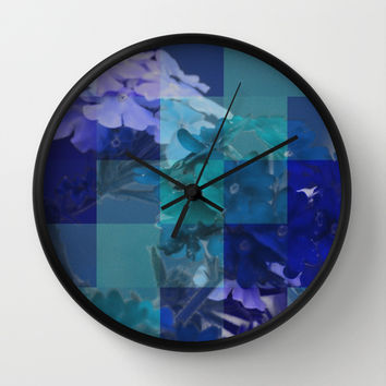 Purple And Blue Tiled Verbena Wall Clock by KCavender Designs
