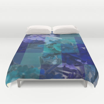 Purple And Blue Tiled Verbena Duvet Cover by KCavender Designs