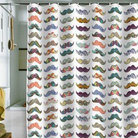 DENY Designs Bianca Green Mustache Mania Shower Curtain