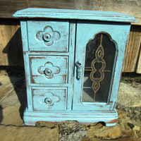 Vintage Distressed Jewelry Box//Embellished Blue//Boho//Cottage Chic//Shabby Chic
