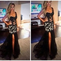 Evening Dress Prom Gown Women Party Dress Mermaid One Shoulder Slit Long Gown