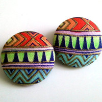 Multi pattern tribal print with metallic gold lining button earrings