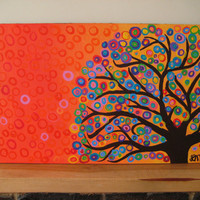 Large Abstract Tree Art Painting Circles &amp; Bubbles by louisemead