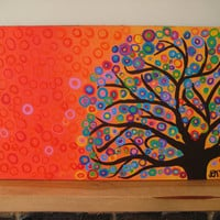 Large Abstract Tree Art Painting Circles & Bubbles by louisemead