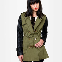 Cool Trench Coat - Vegan Leather Jacket - Olive Green Jacket