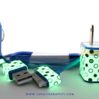 Polka Dot Glow on Blue iPhone Charger
