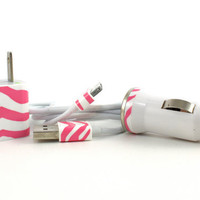 Pink and White Zebra Print iPhone Charger