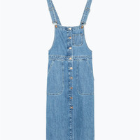 Denim bib-front dungaree dress