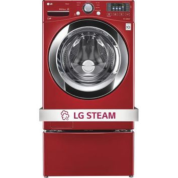 LG - 4.3 Cu. Ft. 9-Cycle Ultralarge-Capacity High-Efficiency Steam Smart Front-Loading Washer - Wild Cherry Red