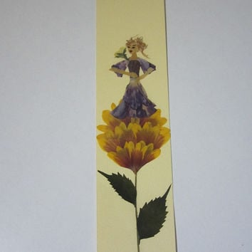 """Handmade unique bookmark """"Pay attention to your surroundings"""" - Decorated with dried pressed flowers and herbs - Original art collage."""