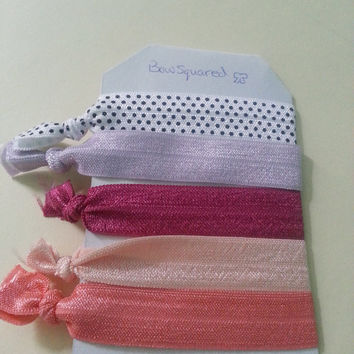Pack of 5 - Peaches and Polka Dots Themed Elastic Hair Ties