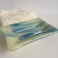 Large Soap Dish in Adventurine Blue and French Vanilla Streaky Fused Glass