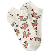 Fox Heart Ankle Socks