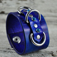 Turquoise Blues Leather Cuff
