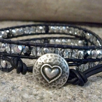 Crystal Silver Czech Glass, Beaded Leather Wrap Bracelet, Double Wrap Bracelet, Chan Luu Inspired, Christmas Gift Idea, PZW119