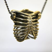 3D Bronze Ribcage Necklace by mrd74 on Etsy