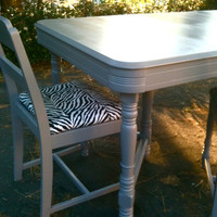 The 1950s Grey Zebra Kitchenette Dining Set by SECONDREVIVAL