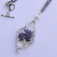 Necklace with natural flowers. Blue verbena flower. Resin jewelry. Pressed flower necklace pendant.