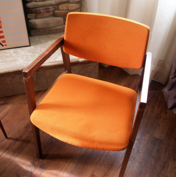 Mid Century Modern Chair Burnt Orange From Aces Finds Vintage