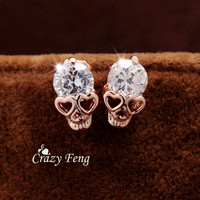 Free shipping New Trendy Women's/Girl's 18k Yellow Gold Filled CZ Diamond Skull Pierced Stud Earring