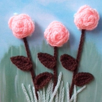 Crochet Painting, Crochet Flowers on Canvas, 6x9 inch, Nursery Art, Children Room Art, 3d Art