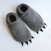 Furry Monster Slippers Adult Sized Grey with by babycricket