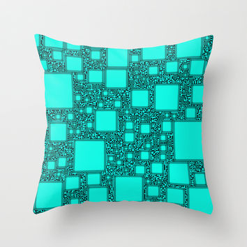 Electronics Blue Throw Pillow by Alice Gosling