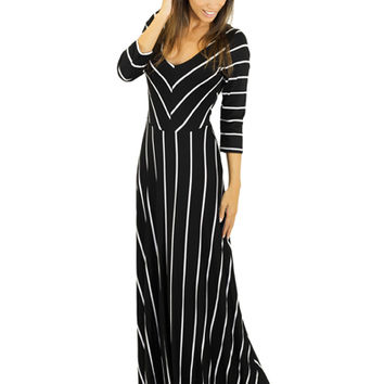 Black Striped Maxi With ¾ Sleeves