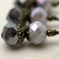 Dark Gray Mirror Crystal Rondelle and Light Gray Multifaceted Crystal Rondelle Bead Dangle Drop Set
