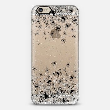 Black Butterflies and Silver Sparkles Burst iPhone 6 case by Organic Saturation   Casetify