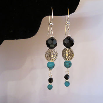 Turquoise and Black Faceted Beaded Silver Dangle Pierced Earrings