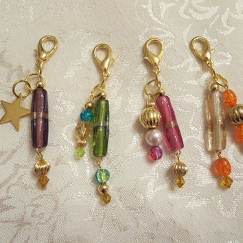 Charming Handcrafted Beaded Purse Charms or Zipper Pulls, Key Chain Charm